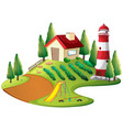 farmer house with vegetable garden and lighthouse vector image vector image