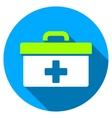 First Aid Toolbox Flat Round Icon with Long Shadow vector image vector image