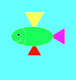 fish on the cyan background vector image vector image