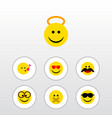 flat icon face set of cheerful angel pleasant vector image vector image
