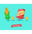 funny cartoon Funny cornflake and corn vector image