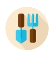 Garden tool flat icon with long shadow vector image