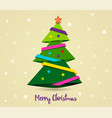 gold card merry christmas paper ribbon on vector image