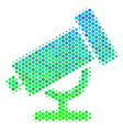 halftone blue-green telescope icon vector image