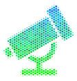 halftone blue-green telescope icon vector image vector image