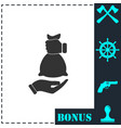 hand giving money bag to another hand icon flat vector image