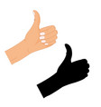 hand thumb up sign with a black silhouette on a vector image