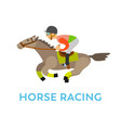 horse racing rider equestrian kind sport vector image