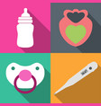 icons childcare graphics on 4 colored backgrounds vector image
