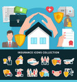 insurance icons collection vector image vector image