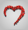 large group of people in the heart shape vector image vector image