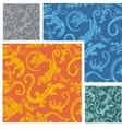 Lizards - seamless pattern set vector image vector image