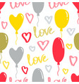 love pattern with balloons and hearts vector image vector image