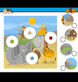 Match pieces game with cartoon animals