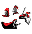 medieval knights with sword in armour vector image