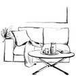 modern interior hand drawing vector image vector image