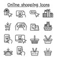 online shopping cyber monday icon set in thin vector image vector image