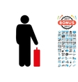 Passenger Icon with 2017 Year Bonus Pictograms vector image vector image
