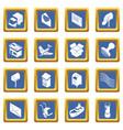 poste service icons set blue square vector image