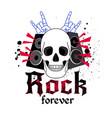 rock music logo with skulls vector image vector image