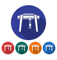 round icon of gantry crane flat style with long vector image vector image