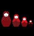 russian nesting dolls matrioshka set red icon vector image