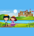 scene with prince and princess in fairytale land vector image vector image