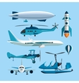 set flying transportation objects hot vector image