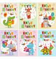 set greeting cards birthday with animals vector image vector image