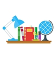 set of education icons on table vector image