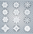 set of white paper flowers vector image vector image