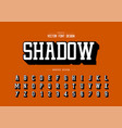 shadow font and alphabet typeface and number vector image vector image