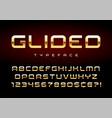 shiny golden display font design alphabet vector image
