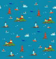 ships and lighthouses in vastness sea vector image