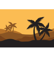 Silhouettes of palm in the desert vector image