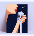 singer woman poster or flyer template or live vector image
