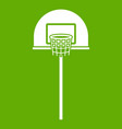 Street basketball hoop icon green vector image