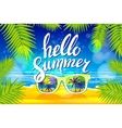 Summer poster with sunglasses palm vector image vector image