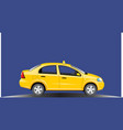taxi car yellow car on a blue background vector image