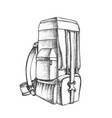 tourist travel backpack luggage monochrome vector image