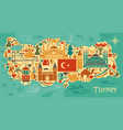 traditional tourist symbols of turkey in the form vector image vector image