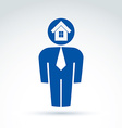 White collar office worker man icon with house