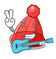 with guitar photo of a cartoon woolen beanie vector image vector image