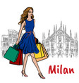 woman in milan vector image