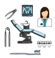Dentist with tools and equipments colored sketch vector image