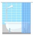 Bathroom interior poster or promo flyer bathtub in vector image