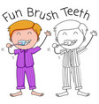 a boy brushing teeth vector image vector image