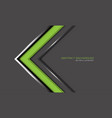 abstract green arrow silver line direction on grey vector image vector image