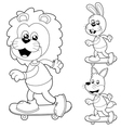 animals skateboard black and white vector image vector image