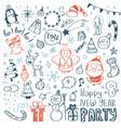 big set of christmas design element in doodle vector image vector image